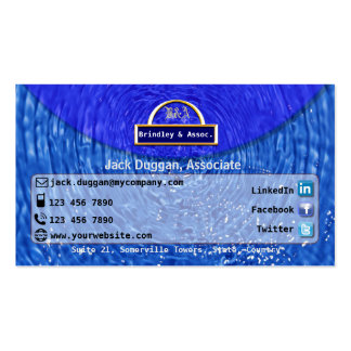 Social Media Focused With Blue Water Effect Design Business Card