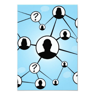 Social Media Friends Diagram 3.5x5 Paper Invitation Card