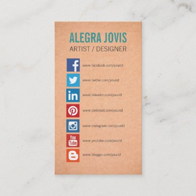Business card template with social media icons zazzle colourmoves
