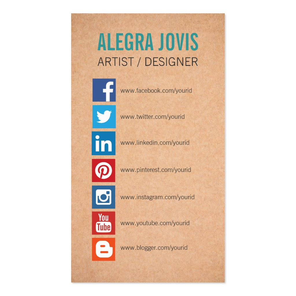 Business Cards Social Media Icons images
