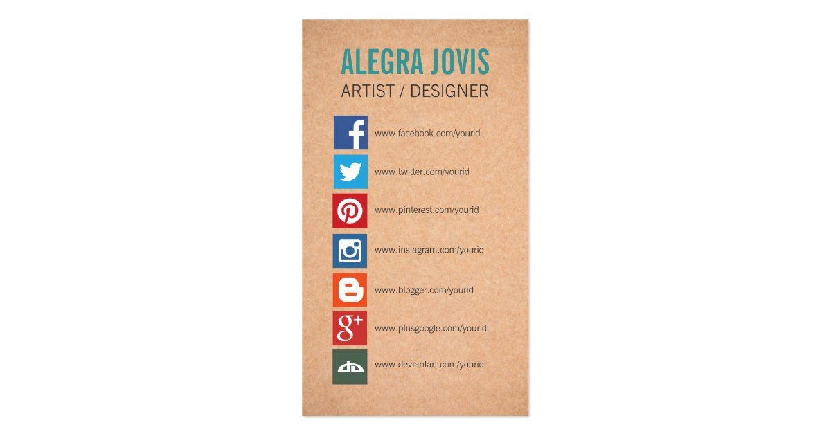 Social media icons symbols business card zazzle for Business card symbols