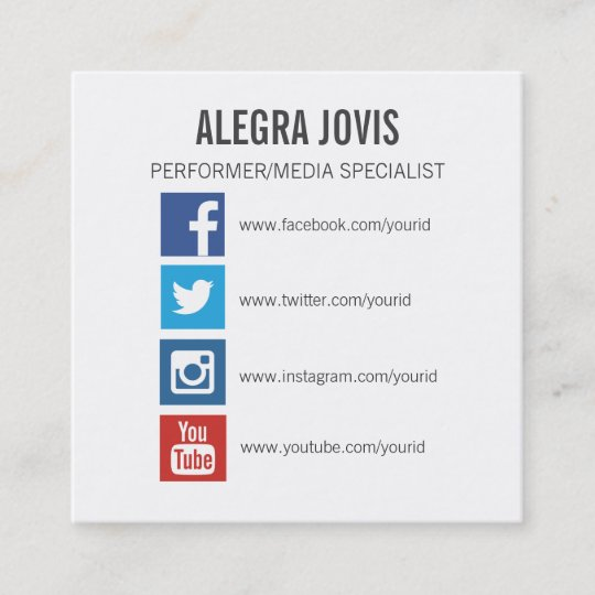 Social Media Icons Symbols Square Business Card Zazzle