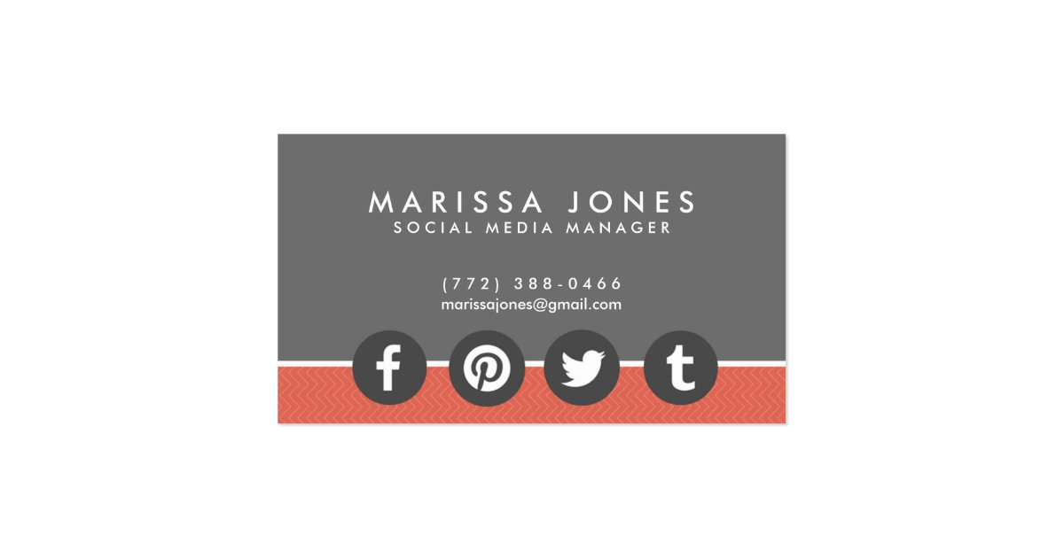 Social media manager peach gray business cards zazzle for Where can i use my synchrony home design card