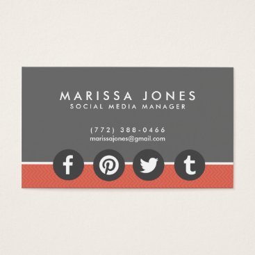 Professional Business Social Media Manager Peach Gray Business Cards