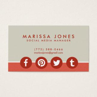 Social Media Manager Peach Tan Business Cards