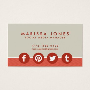 Professional Business Social Media Manager Peach Tan Business Cards