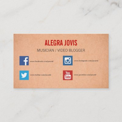 Business card template with social media icons 2 zazzle colourmoves