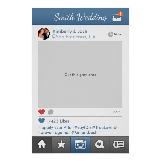 Social Media Photo Prop Frame Wedding Photo Booth Poster Zazzlecom