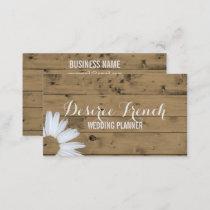 Social Media | Rustic Wood Daisy Wedding Planner Business Card