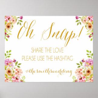 Social media sign | romantic blooms | Gold text Poster