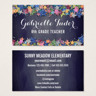 Social Media | Stars Chalkboard Teacher Business Card
