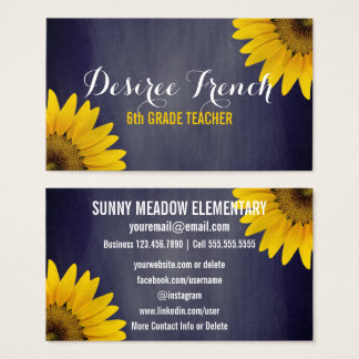 Social Media | Sunflowers Chalkboard Teacher Business Card