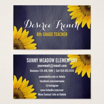 Beach Themed Social Media | Sunflowers Chalkboard Teacher Business Card
