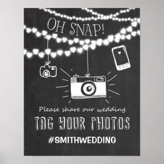 Social media wedding hashtag sign camera