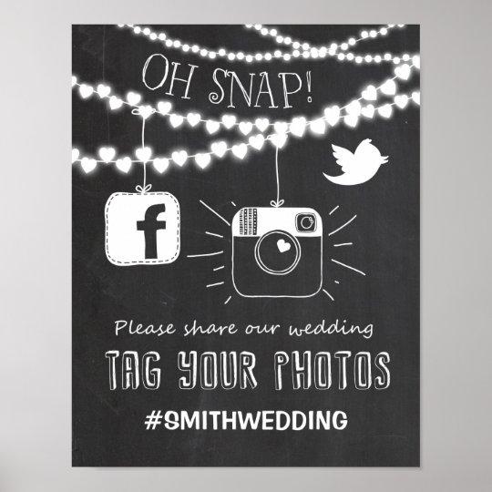 Pink Silver /& Navy Blue Floral Social Media Hashtag Photos Wedding Sign Print