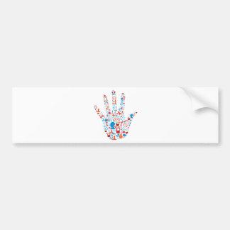 Social Network Hand Bumper Sticker