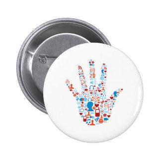 Social Network Hand Pinback Button