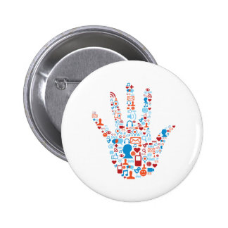Social Network Hand 2 Inch Round Button