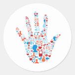 Social Network Hand Classic Round Sticker