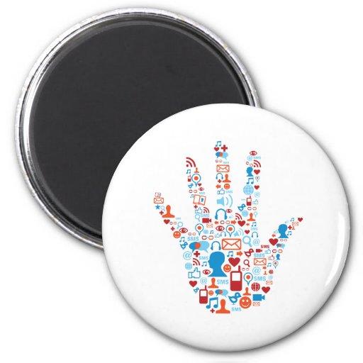 Social Network Hand Fridge Magnet