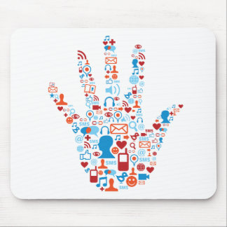 Social Network Hand Mouse Pad