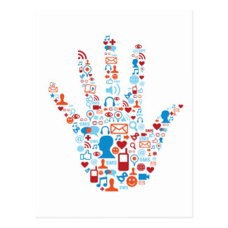 Social Network Hand Postcard