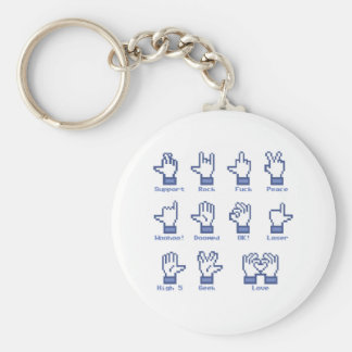 Social Network Hand Sign Basic Round Button Keychain