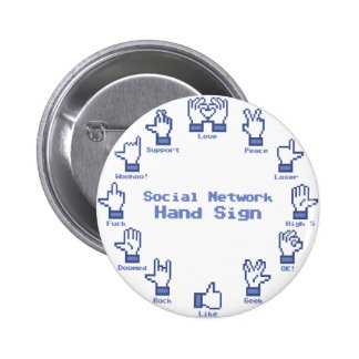 Social Network Hand Sign Pin