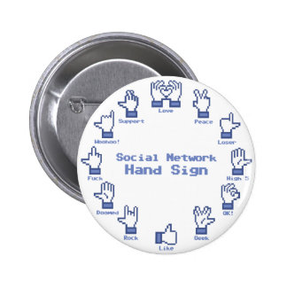 Social Network Hand Sign Pinback Button