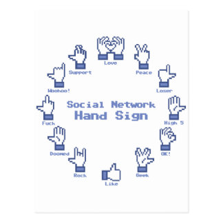 Social Network Hand Sign Postcard