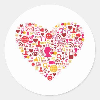 Social Network Heart Classic Round Sticker