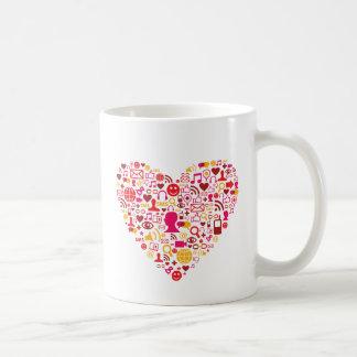 Social Network Heart Classic White Coffee Mug