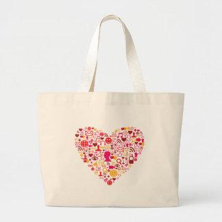 Social Network Heart Large Tote Bag