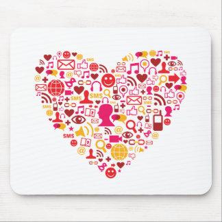 Social Network Heart Mouse Pad