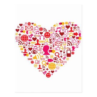 Social Network Heart Postcard