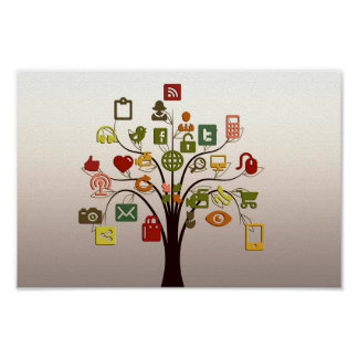 Social Network Tree Wall Art Poster