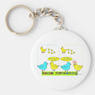 Social Networking Basic Round Button Keychain