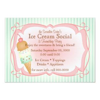 ¡Social pasado de moda del helado! Invitación 12,7 X 17,8 Cm