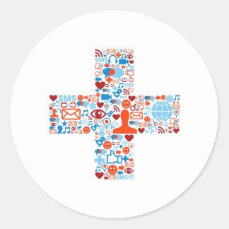 Social Plus Shape Classic Round Sticker