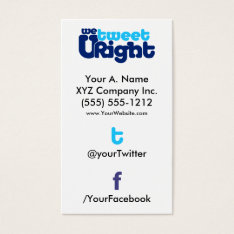 Social Profile Business Card Wturite 2.0 Verttwfb at Zazzle