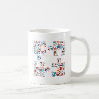 Social puzzle shape coffee mug