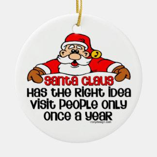 Social Santa Humor Ceramic Ornament