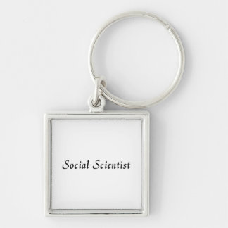 Social Scientist Silver-Colored Square Keychain