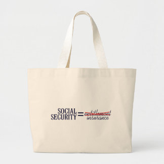 Social Security not Entitlement Large Tote Bag