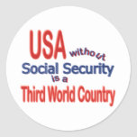 Social Security USA! Personalize Background. Round Sticker