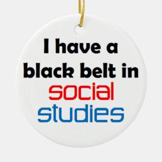 Social studies black belt ceramic ornament