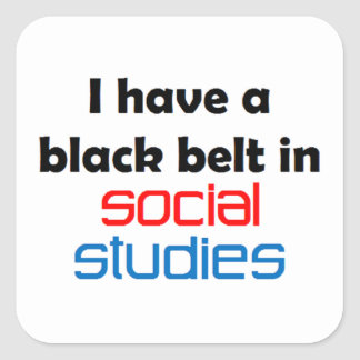 Social studies black belt square sticker