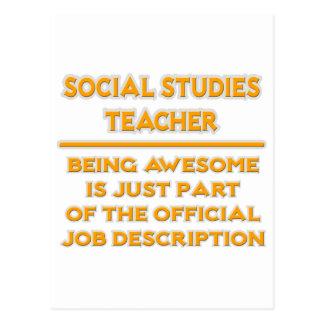 Social Studies Teacher .. Job Description Postcard
