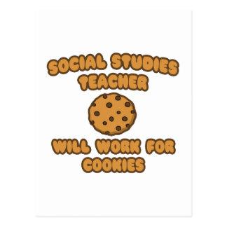 Social Studies Teacher  .. Will Work for Cookies Postcard