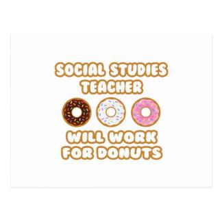 Social Studies Teacher .. Will Work For Donuts Postcard
